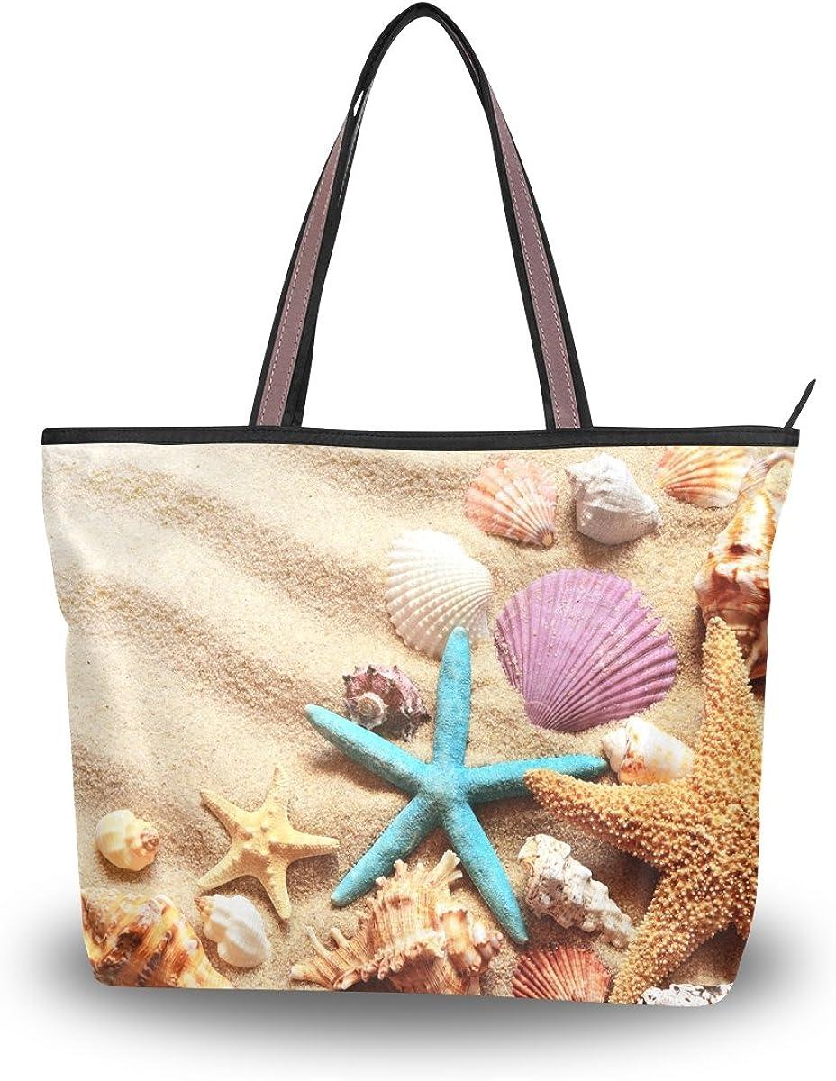 ALAZA Tote Seashells Starfish On Summer Sand Beach Top Handle Shoulder Bags Women Handbag