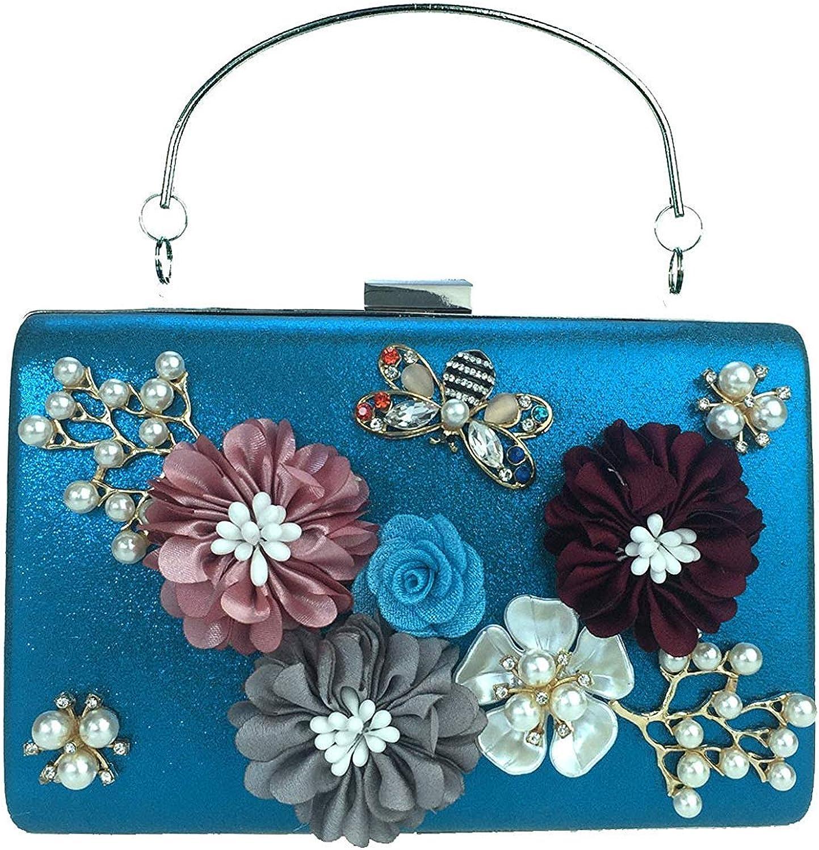 Ladies Handbag Flowers Dinner Bag Square Box Pearl Diamond Hand Bag Bag Bag Hand Bag Party (color   Sky blueee)
