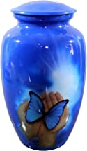 eSplanade Cremation urn Memorial urn Container Jar Pot | Cremation urns | Full Size Standard Urns | Metal Urns | Burial urns (Butterfly)