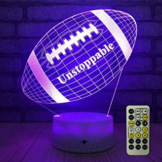 FlyonSea Football lamp, Rugby Ball Bedside Lamp 7 Colors Change + Remote Control with Timer Kids Night Light Optical Illus...