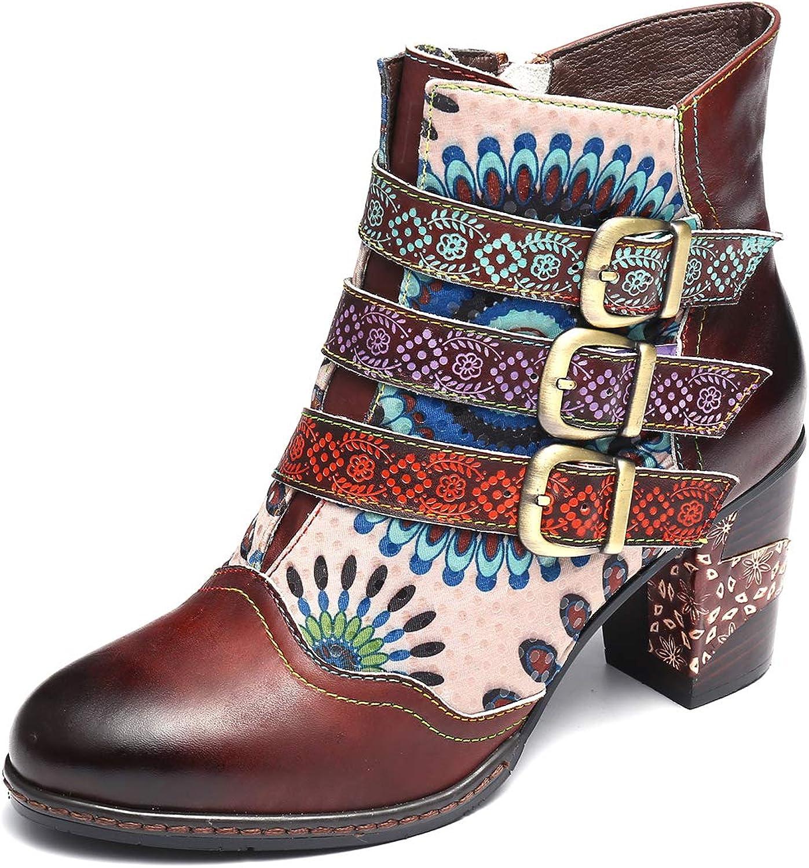 Gracosy Women Leather Ankle Boots, Block Heel Ankle Booties Retro Handmade Flower Splicing Pattern Buckle Bootie
