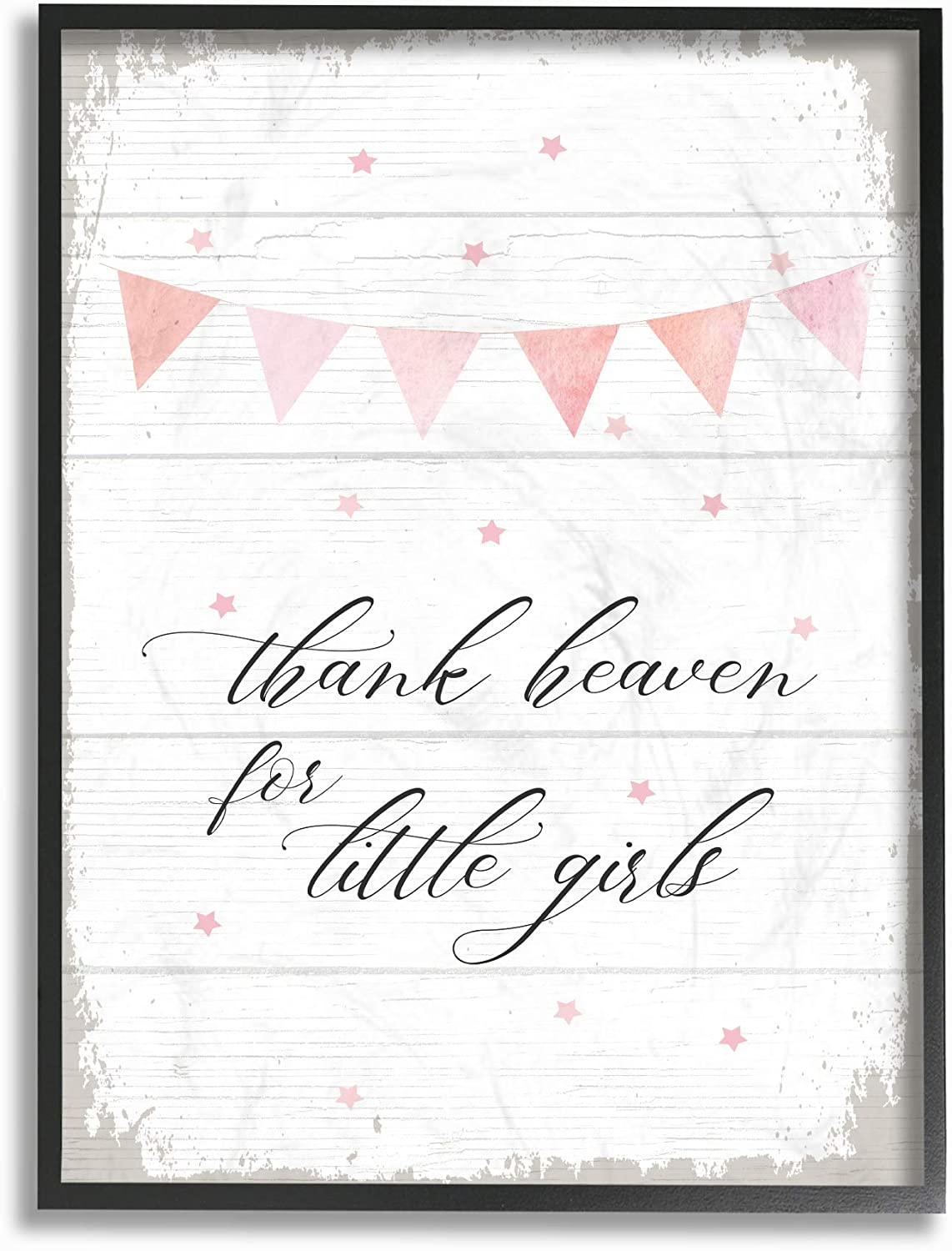 The Kids Room by Stupell Pink Bunting Thank Heaven for Little Girls Planked Look Framed Giclee Texturized Art, 11 X 14, Multicolor