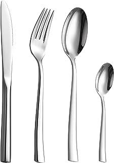 Velaze Set de 24 Cuillères en Acier Inoxydable, Couverts de Table Argents, Couverts de Table Design Miroir Poli,Ensemble d...