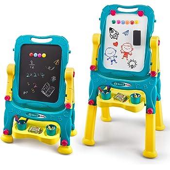 Pittura e Attivit/à di Apprendimento per Bambini Set Doppio Supporto Include Lavagna Pennarello e 80 Magneti Lavagna Magnetica deAO Cavalletto Artistico 2 en 1 per Disegno