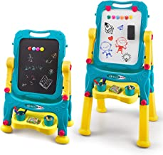 NextX Kids Easel for Two, Adjustable Double Sided Art Easel Chalkboard and Magnetic Dry..