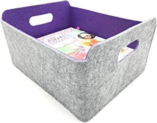 Welaxy Felt Collapsible Storage Basket Foldable Storage Cube Basket bin Shelf Baskets Bins Drawers Organizer bin Felt Box for Kids Toys Magazine Books Newspapers Clothes Home Organizer (Purple)