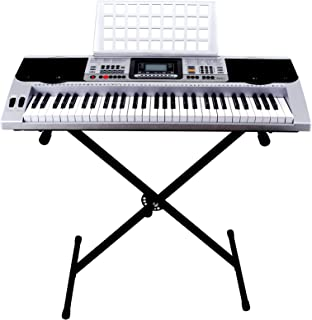LAGRIMA 61-Key Digital Electric Piano Keyboard w/LCD Display, Adjustable X Stand, Music Stand and Power Supply, Udisk/Headphone/Mic/Audio Input, Portable Electronic Keyboard for Beginner (Kids/Adult)