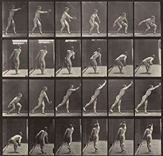 The Museum Outlet - Eadweard J. Muybridge - Throwing an Iron Disk from Animal Locomotion, Stretched Canvas Gallery Wrapped. 11.7x16.5