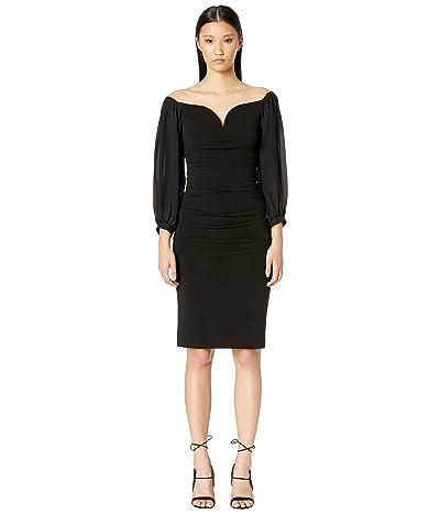 Nicole Miller Structured Heavy Jersey Plunge Dress (Black) Women
