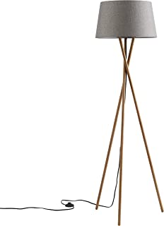 Ambiore Wood Tripod Floor Lamp Maud - Modern Elegant Indoor Standing Light with Complimentary Bulb Mid-Century Living Room and Bedroom - Solid Wood Walnut Stand with Linen Fabric Shade- Grey Charcoal