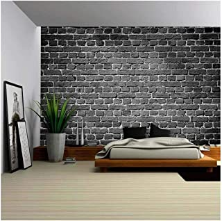 wall26 - Old Dark Brick Wall, Texture Background - Removable Wall Mural | Self-Adhesive Large Wallpaper - 100x144 inches