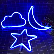 Neon Signs Cloud Star and Moon Decorative LED Light Art Wall Decor for Bedroom Christmas Party Powered by Battery/USB(Blue)