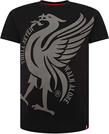 87d5cbc10 Liverpool FC Black Mens Soccer Liverbird YNWA Shirt AW 18 19 LFC Official