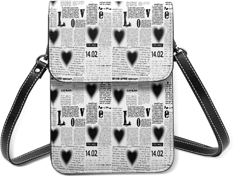 Halftone Heart Newspaper Small Cell Phone Purse Flip Super intense SALE Limited price sale Lightweight