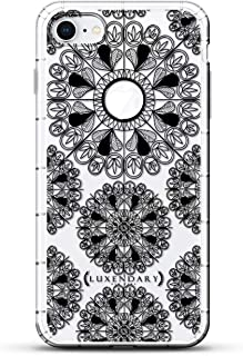 Ornament: Black Mandalas with Apple Logo Circle | Luxendary Air Series Clear Silicone Case with 3D Printed Design and Air-Pocket Cushion Bumper for iPhone 8/7