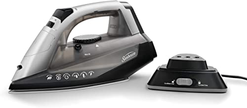 popular Sunbeam Cordless or Corded 1500-Watt Anti-Drip Ceramic Hybrid outlet online sale Clothes Iron with Vertical Steam and Auto-Off Function (GCSBNC-200), 2021 Grey outlet sale