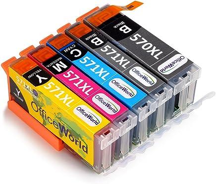 OfficeWorld PGI-570XL CLI-571XL Reemplazo para Canon PGI-570 CLI-571 Cartuchos de tinta con Canon PIXMA TS5050 TS5051 TS5055 MG5750 MG6850 MG5751 MG5700 MG5753 MG6851 MG6852 (1PGBK,1BK,1C,1M,1Y)