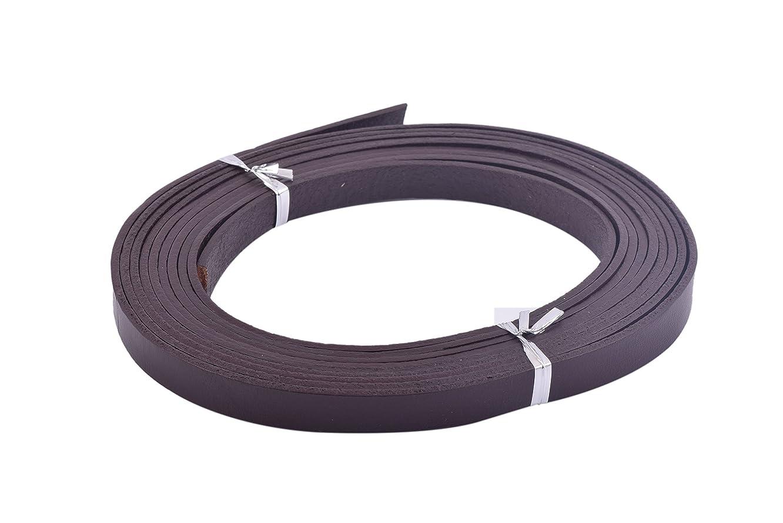KONMAY 3 Meters 10.0x2.0mm Dark Brown Soft Flat Genuine/Real Cowhide Leather Lacing Strips