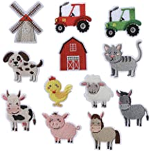12pcs Assorted Farm Animals Tractor Styles Embroidered Iron On or Sew On Patches DIY Applique Repair Patch for Jackets Jea...