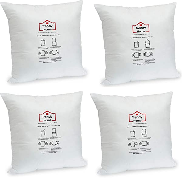 Trendy Home 18 X 18 Premium Hypoallergenic Stuffer Home Office Decorative Throw Pillow Insert Standard White 4 Pack