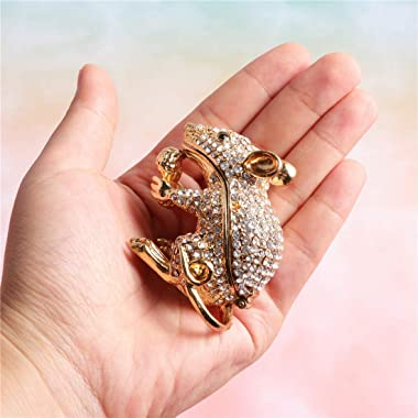 Waltz&F White Diamond Golden Mouse Hand-Painted Trinket Box Animal Jewelrybox Figurine Collectible Ring Holder with Gift