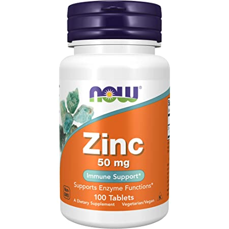 Now Foods Supplements, Zinc (Zinc Gluconate) 50 mg, Supports Enzyme Functions, Immune Support, 100 Tablets, Yellow/Gold