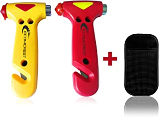 Car Safety Hammer, Window Breaker and Seatbelt Cutter. Pack of 2. Comes With Dashboard Mat