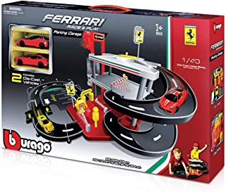 Ferrari Parking Garage Playset With Two 1:43 Scale Diecast Cars Kid Fun Play Toy
