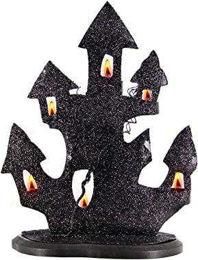 "Zcaukya Halloween Decorations, 10"" X 4.7"" X 12.5"" Haunted House Metal Tealight Candle Holders, Halloween Black Candle Holders"