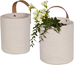 Wall Hanging Storage Baskets Set of 2 - Small Cotton Rope Handle Storage Organizer, Woven Baskets for Baby Nursery Kids Gift