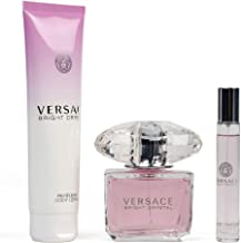 Bright Crystal By Versace 3 Pcs Set For Women's (3 Oz Eau De Toilette + 5 Oz Perfumed Body Lotion + 10 Ml Eau De Toilette)