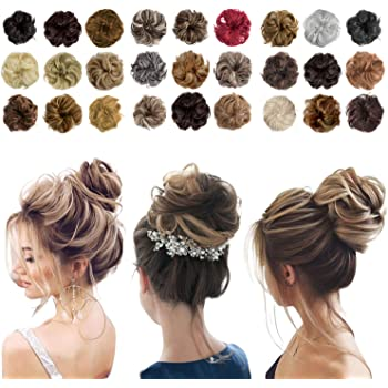Messy Bun Hair Piece Thick Updo Scrunchies Hair Extensions Ponytail Hair Accessories for Women Ladies Girls (1 Piece, Light Brown Mix Ash Blonde)