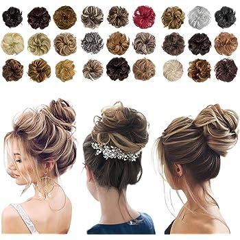 Messy Bun Hair Piece Thick Updo Scrunchies Hair Extensions Ponytail Hair Accessories for Women Ladies Girls (1 Piece, Platinum Blonde)