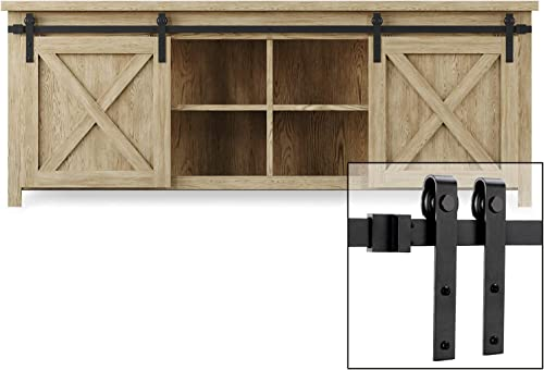 EaseLife 8 FT Cabinet Mini Double Door Sliding Barn Door Hardware
