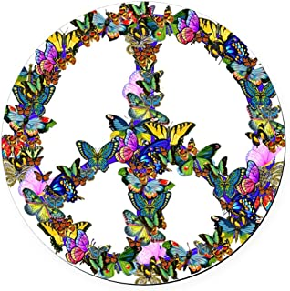 CafePress Butterflies Peace Sign Round Car Magnet, Magnetic Bumper Sticker