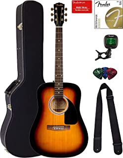 Fender FA-115 Dreadnought Acoustic Guitar - Sunburst Bundle with Hard Case, Tuner, Strings, Strap, and Picks