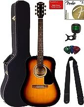 Fender FA-115 Dreadnought Acoustic Guitar - Sunburst Bundle with Hard Case, Tuner, Strings, Strap, and Picks