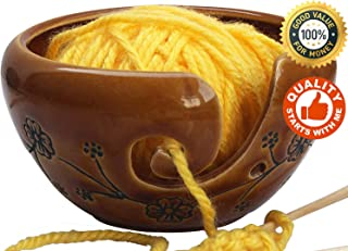 ABHANDICRAFTS Shop Happy Holiday Deals - Ceramic Brown Yarn Bowl for Knitting, Crochet for Moms - Beautiful Gift on All Occasions. A for Moms and Grandmothers 6X4 Inch