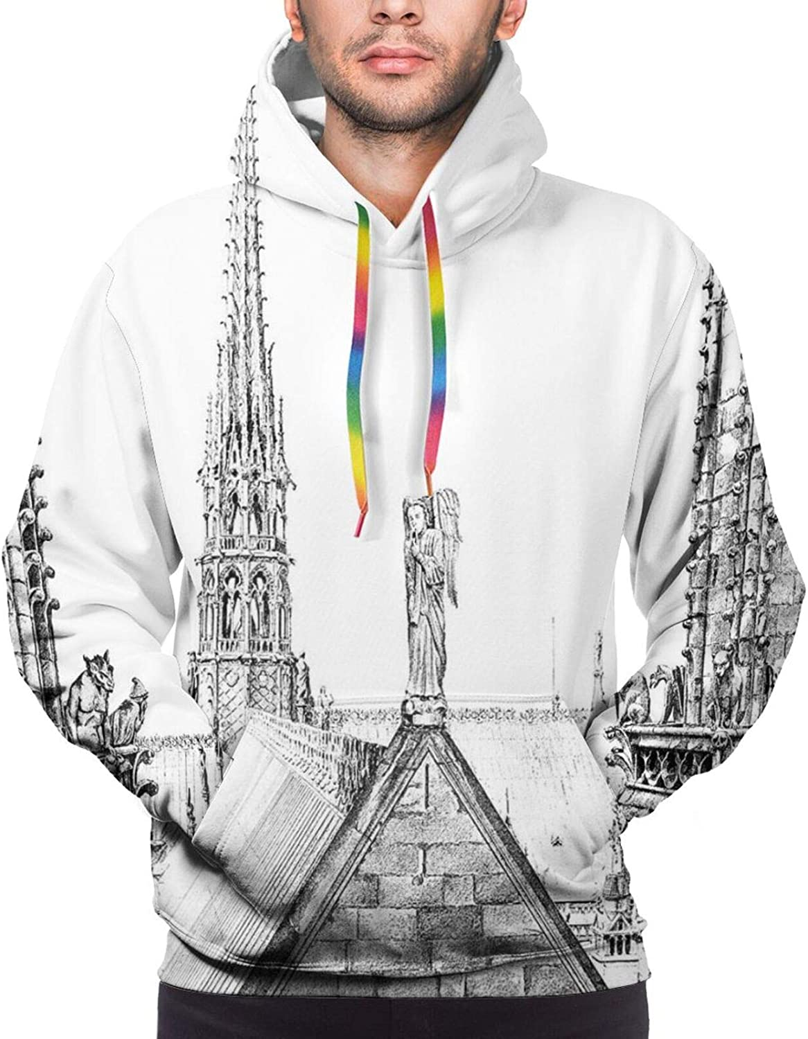 Men's Hoodies Sweatshirts,Ancient French Monument with Gargoyles Ancient History Theme Hand-Drawn