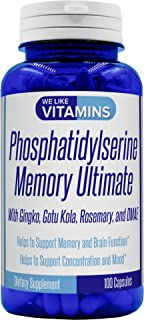 Phosphatidylserine Memory Ultimate with Ginkgo, Gotu Kola, Rosemary and DMAE 100 Capsules Phosphatidyl Seri...