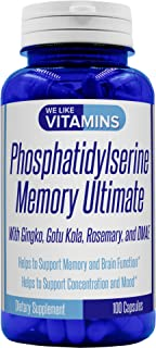 Phosphatidylserine 500mg Memory Ultimate Plus Ginkgo and DMAE 100 Capsules (Gluten Free) Phosphatidyl Serine