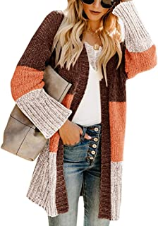 Lovaru Womens Boho Open Front Cardigan Colorblock Long...