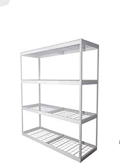 "SafeRacks 2x6x7 Garage Shelving - White Bolted Shelving Rack (24"" x 72"" x 84"") - 500 Pounds Per Shelf High Grade Steel"