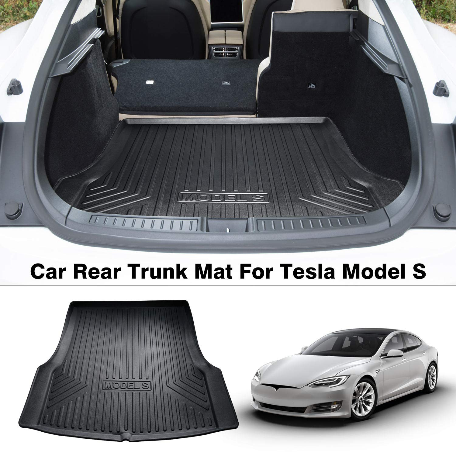 Mixsuper Rear Cargo Liner 3D TPO Durable Odorless All Weather Trunk Floor Mat for Tesla Model S All Models