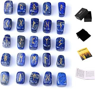 Lapis Lazuli Rune Stones Set Engraved Pagan Lettering with Instruction Booklet and Velvet Pouch by TGS Gems