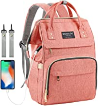Upgraded Diaper Bag,Large Capacity Baby Diaper Backpack,Multi-Function Travel Baby Care Nursing Bag, Fashion& Durable Water Proof Baby Nappy Changing Bags for Boys&Girls (Pink)