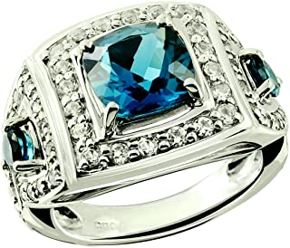 RB Gems Sterling Silver 925 Statement Ring Genuine Gemstone Cushion 8 mm, Rhodium-Plated Finish, Art Deco