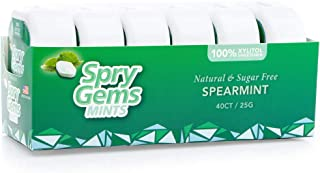 Spry Gems Natural Spearmint Xylitol Mints - 40 Count (6 Pack)