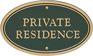 Whitehall Products 10578 Statement Marker-Wall/Lawn Private Residence Plaque, 10 x 6, Green/Gold