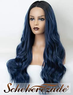 Ombre Deep Navy Blue Lace Front Wig with Black Roots Scheherezade Natural Wavy Lace Wigs 2 Tone Long Synthetic Dark Blue Wig for Women 22 Inches Glueless Heat Resistant